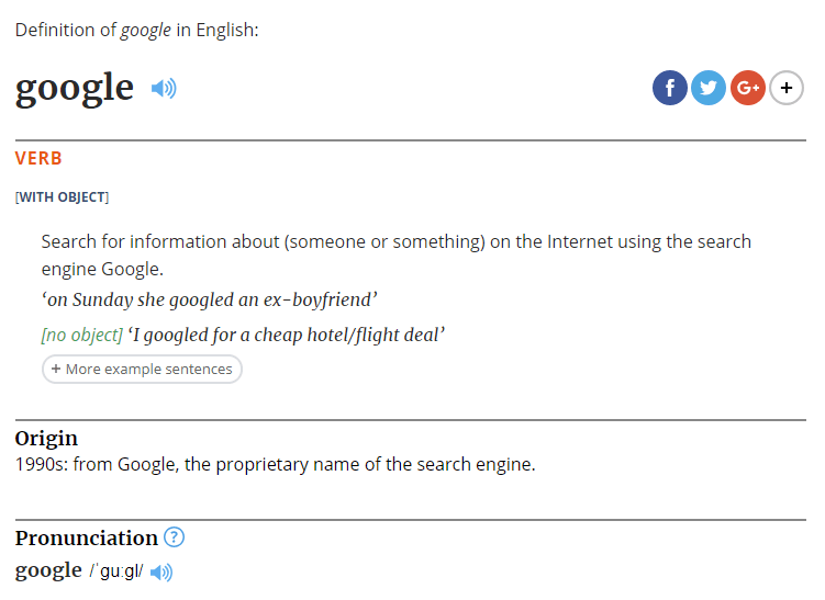 Google listed as verb in Oxford Dictionary